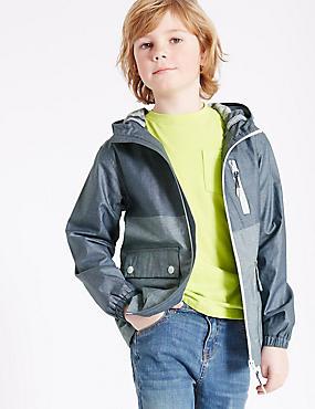 Pure Cotton Anorak Jacket (3-14 Years), NAVY MIX, catlanding
