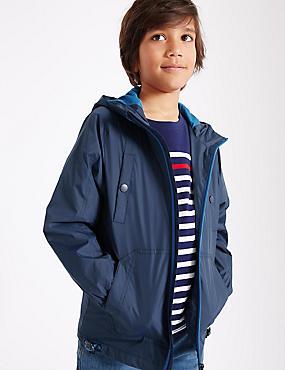 Hooded Anorak Jacket (3-14 Years), NAVY, catlanding