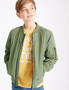Bomber-Jacke mit 3 Taschen (3–14 Jahre), GRÜN MELANGE, catlanding
