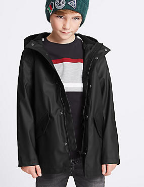 Faux Leather Fisherman Jacket (3-14 Years), BLACK, catlanding
