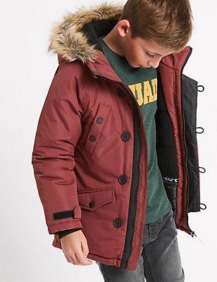 Faux Fur Parka Jacket with Stormwear™ (3-14 Years), BURGUNDY, catlanding
