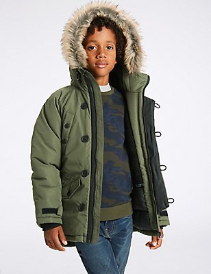Faux Fur Parka with Stormwear™ (3-14 Years), KHAKI, catlanding
