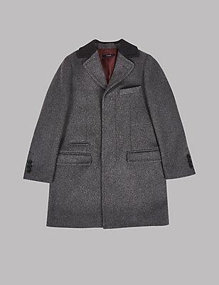 Collared Neck Coat with Wool (3-14 Years), GREY, catlanding
