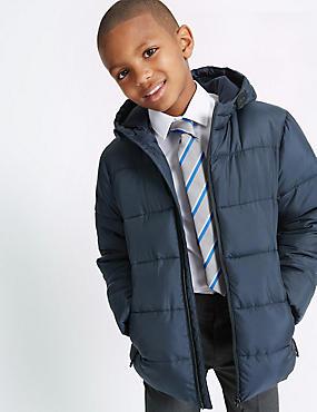 Hooded Zip Through Coat with Stormwear™ (3-14 Years), NAVY, catlanding