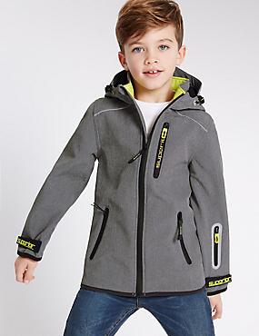 Jacke mit Kapuze und Blockfarben (3–14 Jahre), BLAU MELANGE, catlanding