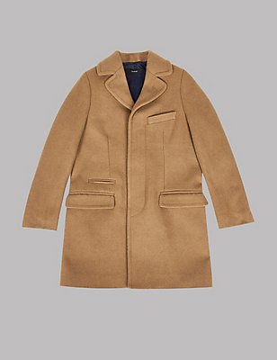 Collared Neck Coat with Wool (3-14 Years), CAMEL, catlanding
