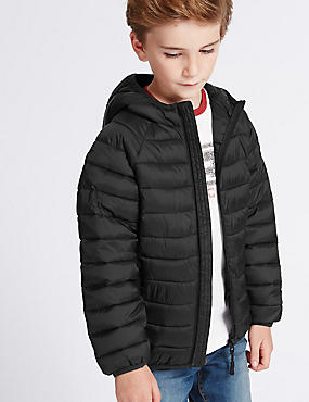 Padded Zip Through Coat (3-14 Years), BLACK, catlanding