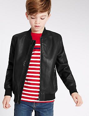Faux Leather Jacket (3-14 Years), BLACK, catlanding