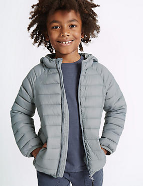 Padded Zip Through Coat (3-14 Years), GREY, catlanding