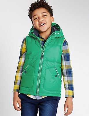 Padded 2 Pocket Gilet (3-14 Years), GREEN MIX, catlanding