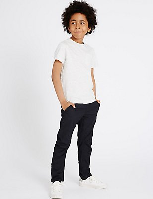 Pure Cotton Navy Trousers (5-14 Years), NAVY, catlanding