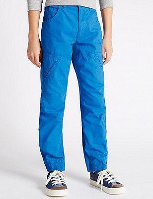 Pure Cotton Fashion Chinos (5-14 Years), BLUE, catlanding