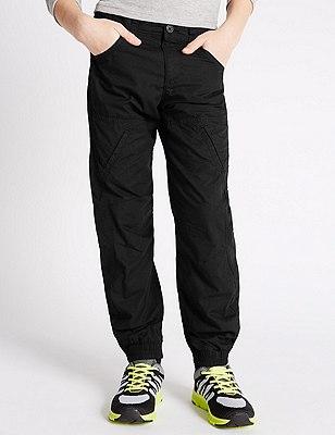 Pure Cotton Flight Cloth Chino Trousers (5-14 Years), BLACK, catlanding