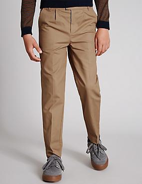 Twill Chino Trousers (5-14 Years), TAN, catlanding
