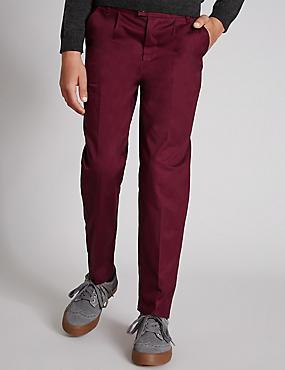 Twill Chino Trousers (5-14 Years), WINE, catlanding