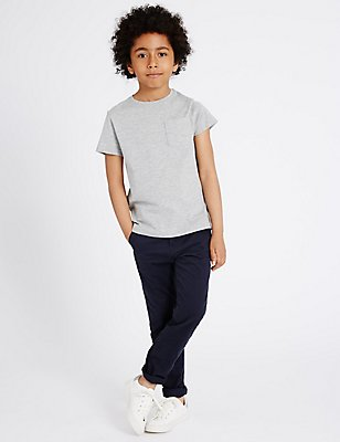 Pure Cotton Adjustable Waistband Chinos (5-14 Years), NAVY, catlanding