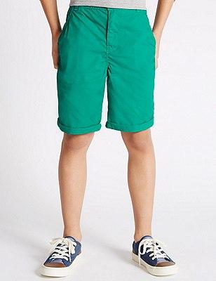 Pure Cotton Chino Shorts (5-14 Years), GREEN, catlanding