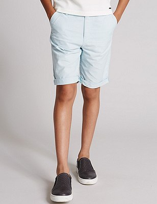 Pure Cotton Textured Chino Shorts (5-14 Years), TURQUOISE MIX, catlanding