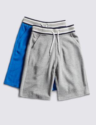 Хлопковые шорты с контрастной полоской для мальчика 5-14 лет (2 шт) от Marks & Spencer