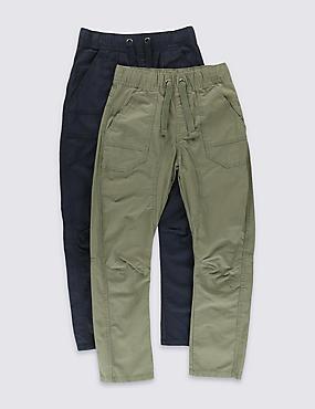 Pack de 2 pantalones 100% algodón antidesgarros con cintura ajustable (5-14años), MEZCLA DE TONOS MARINO, catlanding