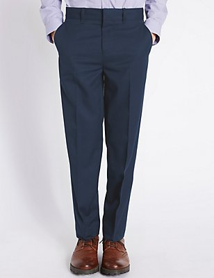 Classic Flat Front Trousers (5-14 Years), NAVY, catlanding