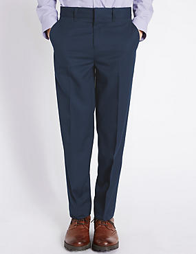 Pantalon classique sans pinces (du 5 au 14ans), BLEU MARINE, catlanding