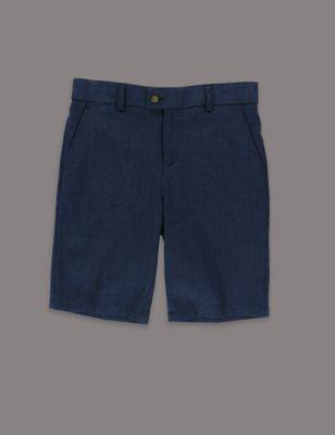 Классические шорты из льна и хлопка с регулируемым поясом для мальчика 2-14 лет от Marks & Spencer