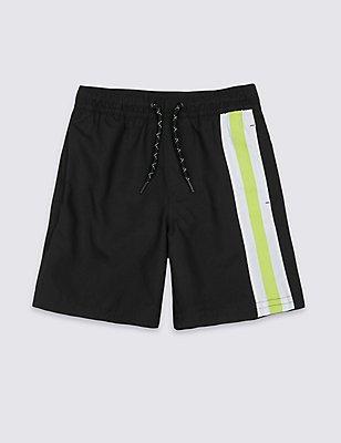 Striped Swim Shorts (3-14 Years), BLACK, catlanding