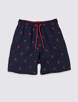 Embroidered Swim Shorts (3-14 Years), DARK BLUE MIX, catlanding