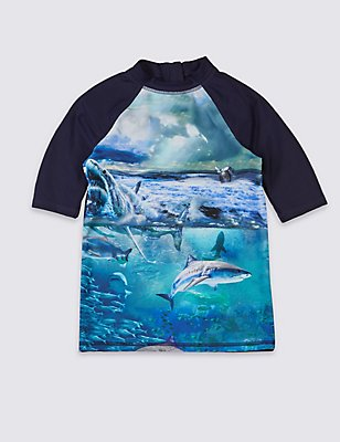 Shark Print Rash Vest (3-14 Years), BLUE MIX, catlanding