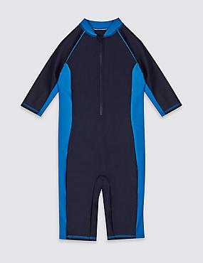 Zipped Swimsuit (3-14 Years), BLACK MIX, catlanding