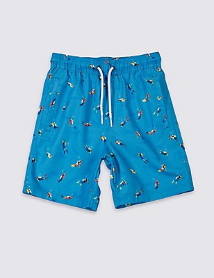 Printed Swim Shorts (3-14 Years), BLUE MIX, catlanding