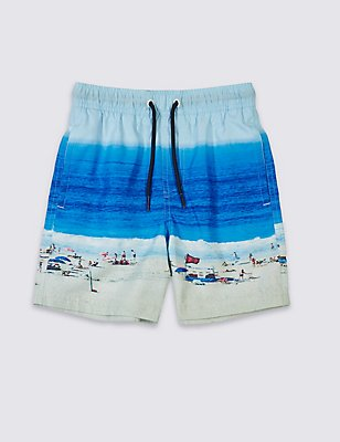 Beach Scene Print Shorts (3-14 Years), BLUE MIX, catlanding