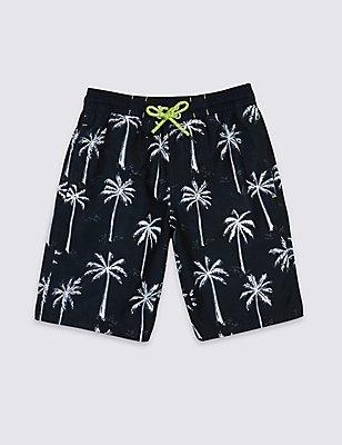 Palm Tree Print Swim Shorts (3-14 Years), BLACK MIX, catlanding