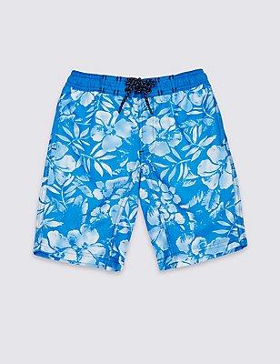 Hibiscus Print Swim Shorts (3-14 Years), BLUE MIX, catlanding
