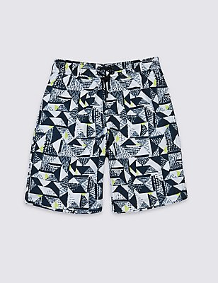 Geometric Print Swim Shorts (3-14 Years), GREEN MIX, catlanding