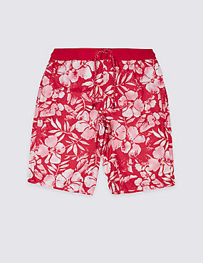 Floral Print Swim Shorts (3-14 Years), RED MIX, catlanding