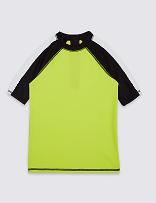 Mesh Panel Rash Vest (3-14 Years), GREEN MIX, catlanding