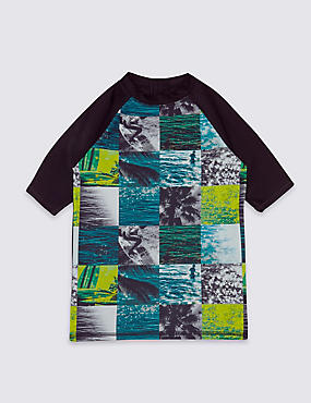 Photo Surf Print Rash Vest (3-14 Years), GREEN MIX, catlanding