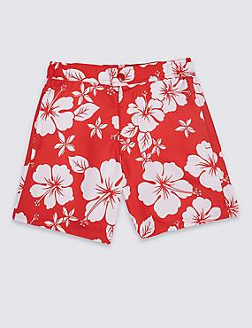 Hibiscus Print Swim Shorts (3-16 Years), RED, catlanding