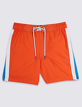 Side Stripe Swim Shorts (3-16 Years), ORANGE, catlanding