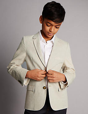 Notch Lapel 2 Button Jacket with Linen (5-14 Years), STONE, catlanding