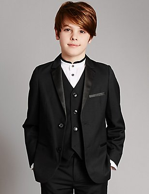Notch Lapel 2 Button Jacket (5-14 Years), BLACK, catlanding