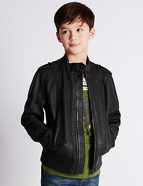 Stormwear™ Biker Jacket (5-14 Years), BLACK, catlanding