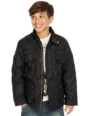 Pure Cotton 4 Pockets Waxed Jacket (5-14 Years), BLACK, catlanding