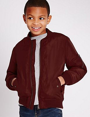 Bomber Jacket (5-14 Years), BERRY, catlanding