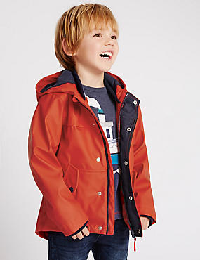 Fisherman Hooded Jacket (3 Months - 5 Years), RED, catlanding
