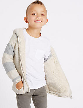 Cotton Rich Zip Through Hooded Top (3 Months - 5 Years), OATMEAL MIX, catlanding