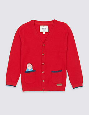 Paddington™ Cotton Blend Cardigan (3 Months - 6 Years), RED, catlanding