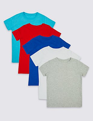 5 Pack Short Sleeve T-Shirts (3 Months - 5 Years), MULTI, catlanding
